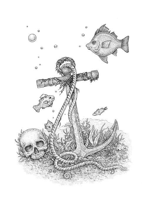 Drawn anchor underwater Human 25+ Underwater white Underwater