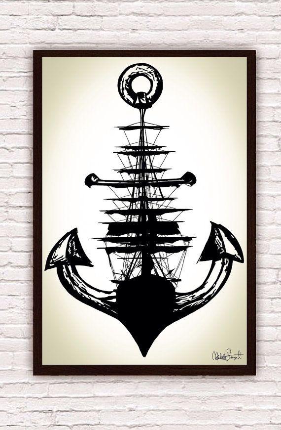 Drawn anchor unique And Anchor Nautical Ship Sailing