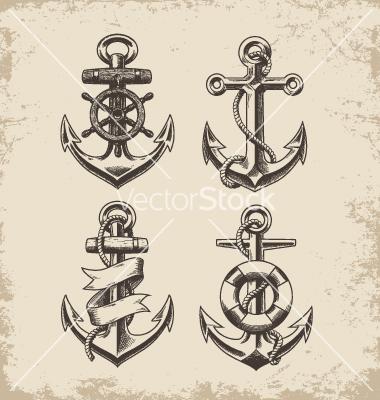 Drawn anchor unique On VectorStock® by drawn Hand