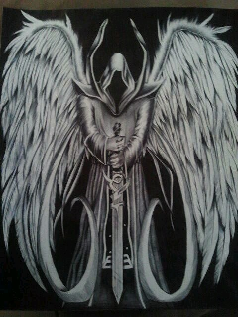 Drawn skeleton human form art This Angel Of Death Pin