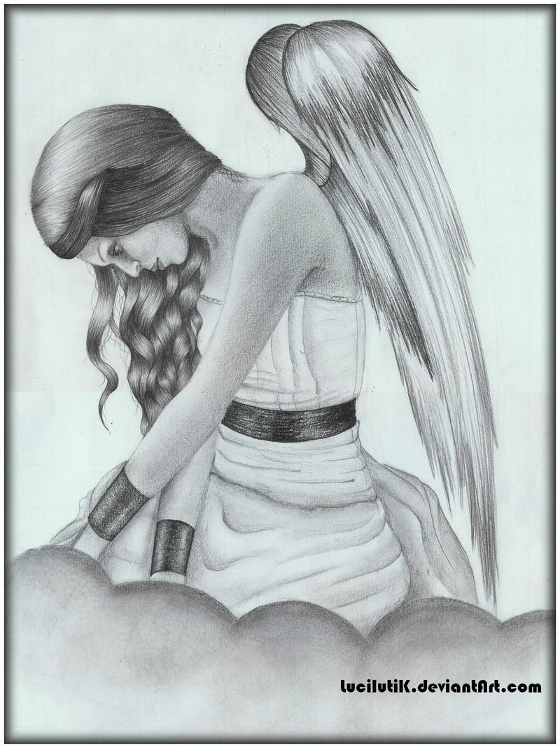 Drawn angel broken angel By  by LucilutiK angel