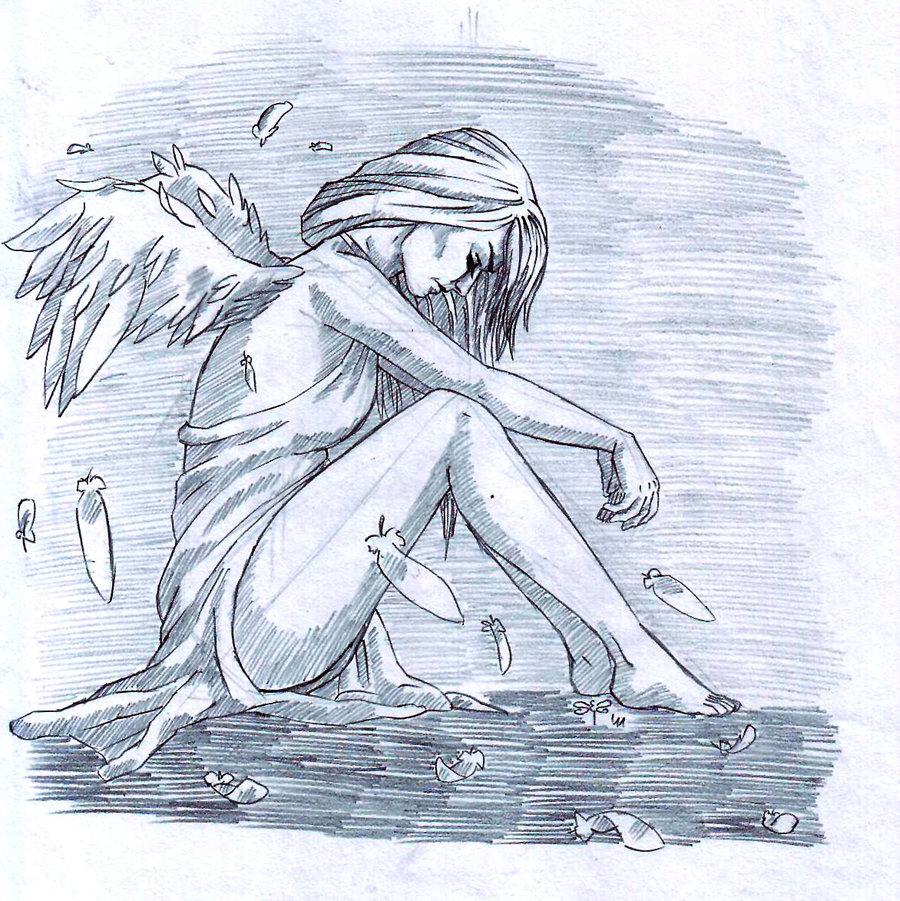 Drawn angel broken angel Lonely  szitakoto on broken