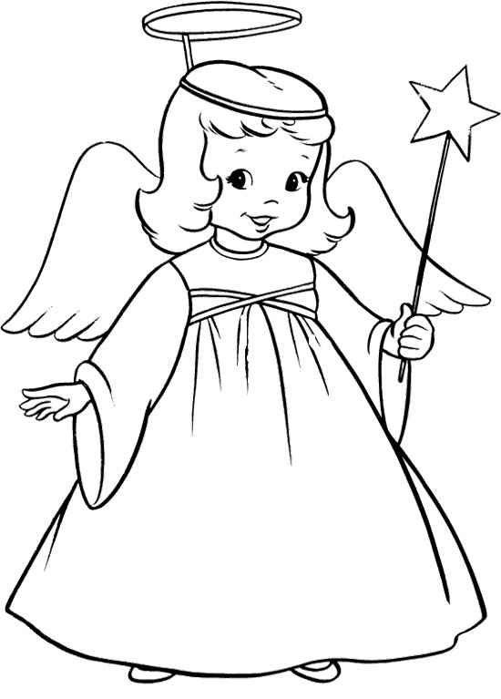Angel clipart coloring page #7