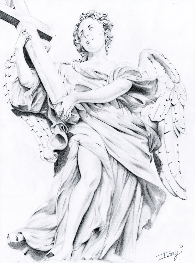 Drawn angel cross By with on by with