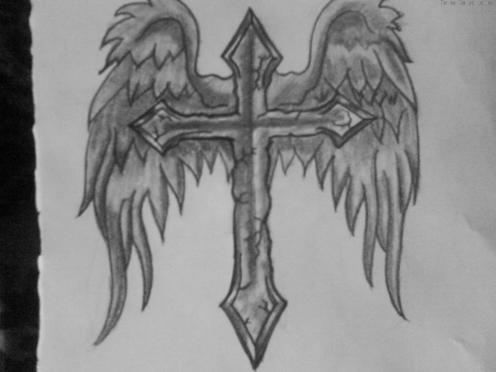 Drawn angel cross Wings Design drawing Wings wings