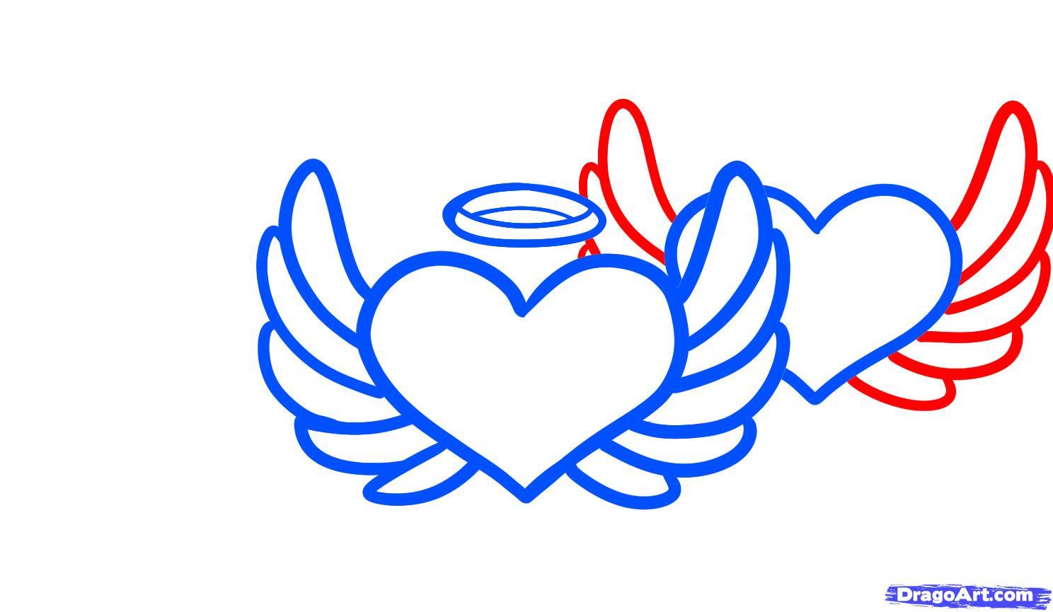 Drawn hearts angel 5  Tattoos Hearts FREE
