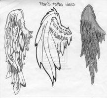 Drawn angel folded wing The Bird tattoo  folded