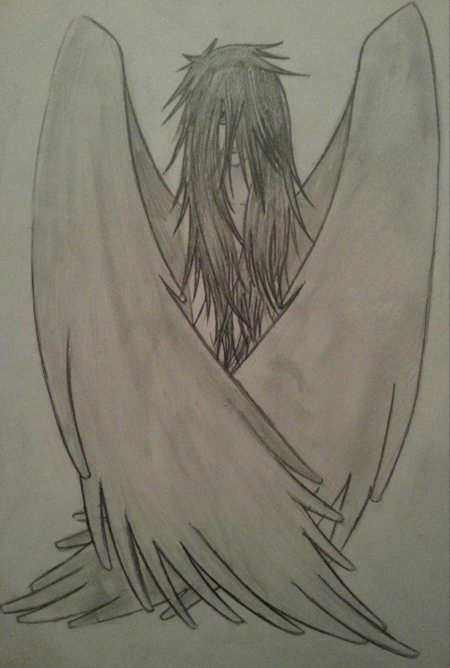 Drawn angel folded wing DannyMacUilliam folded Angel by DannyMacUilliam