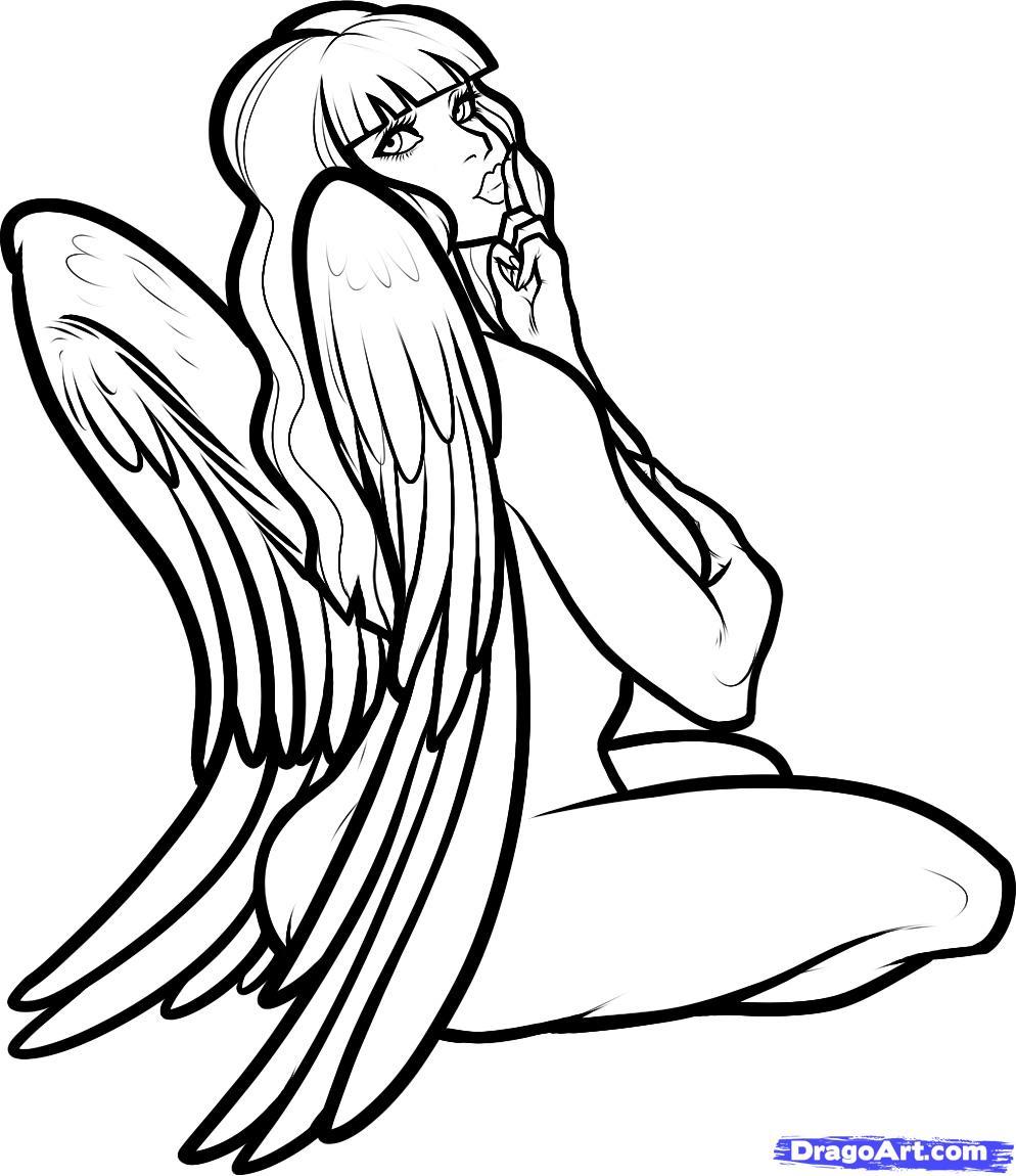 Drawn graffiti angel #12
