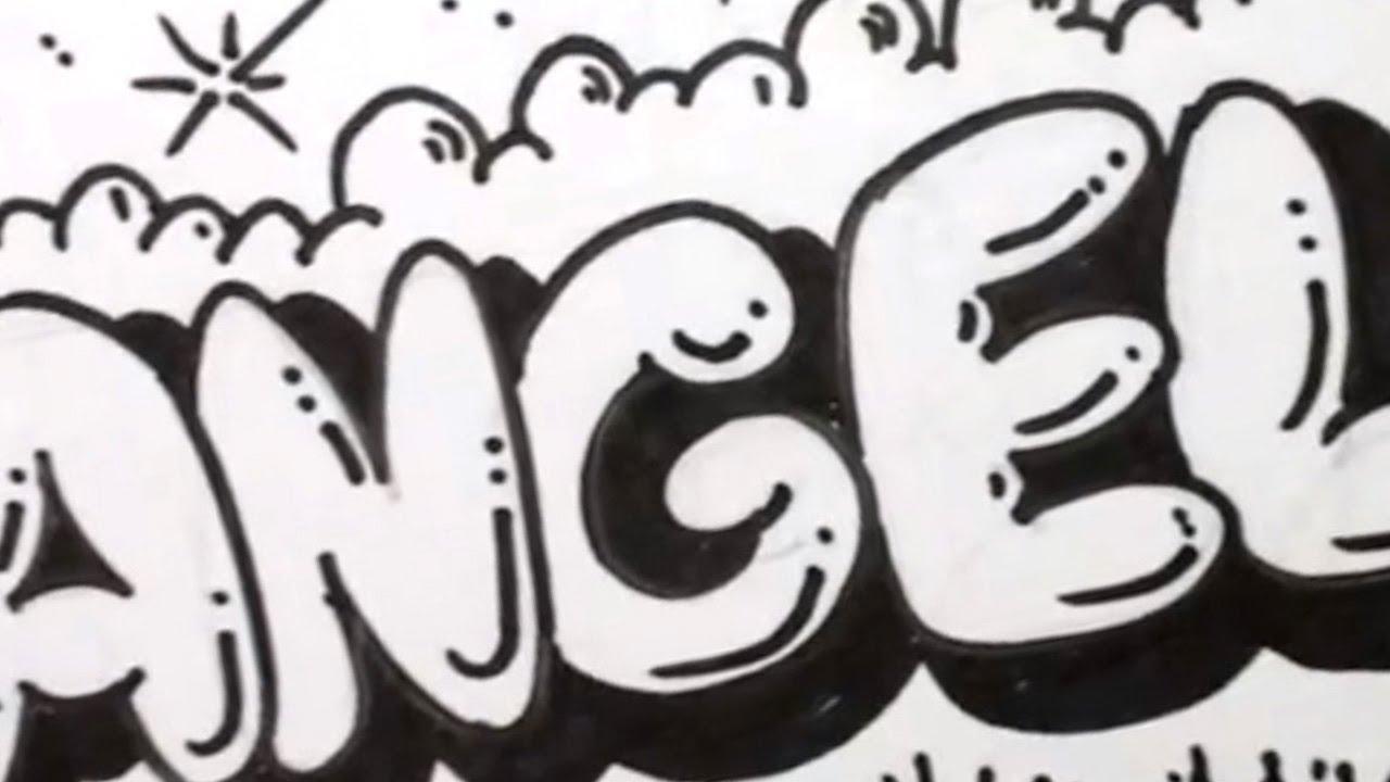Drawn graffiti angel #13
