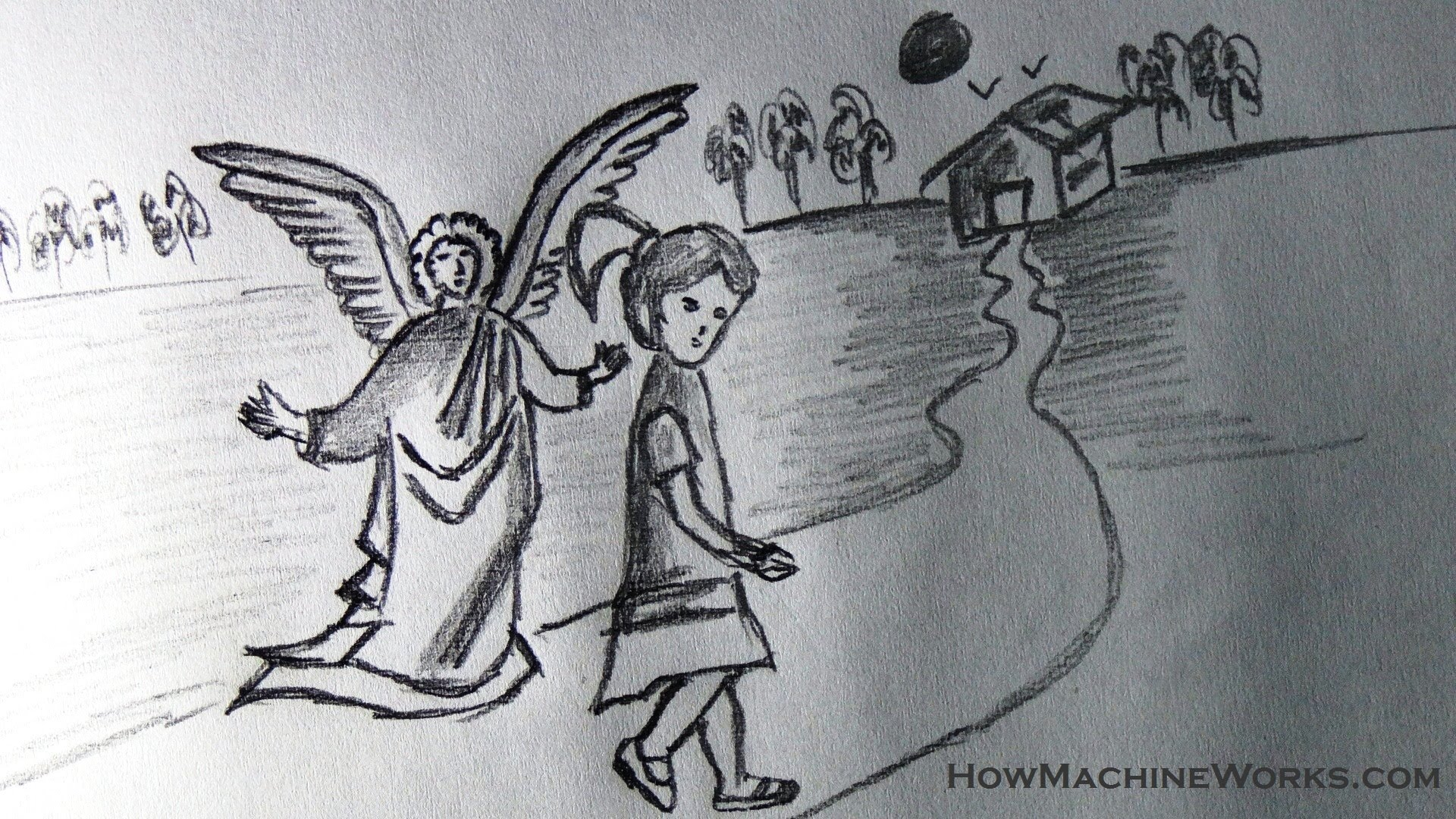 Drawn angel guardian angel YouTube guardian a angel protecting