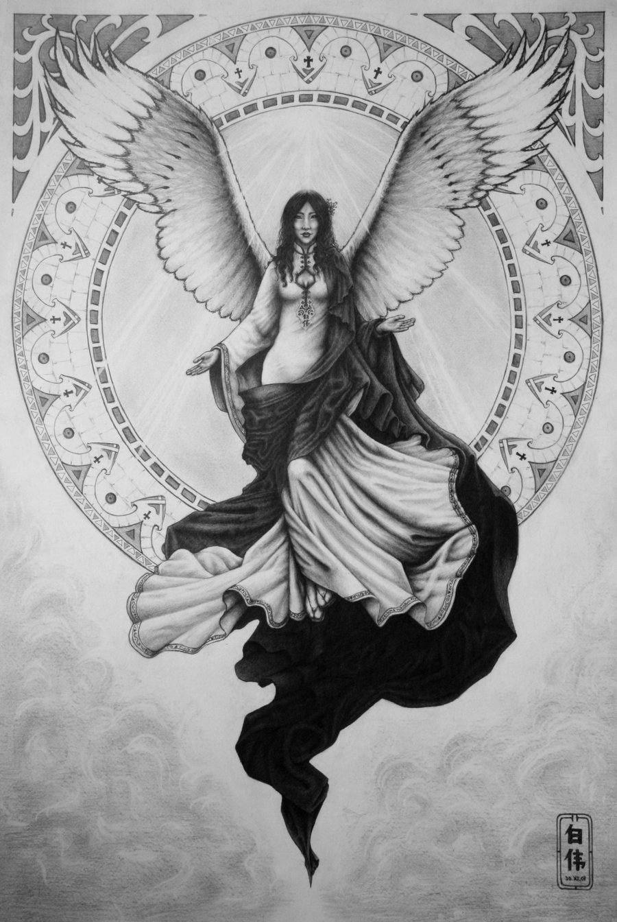 Drawn angel guardian angel  angel by portraits angel