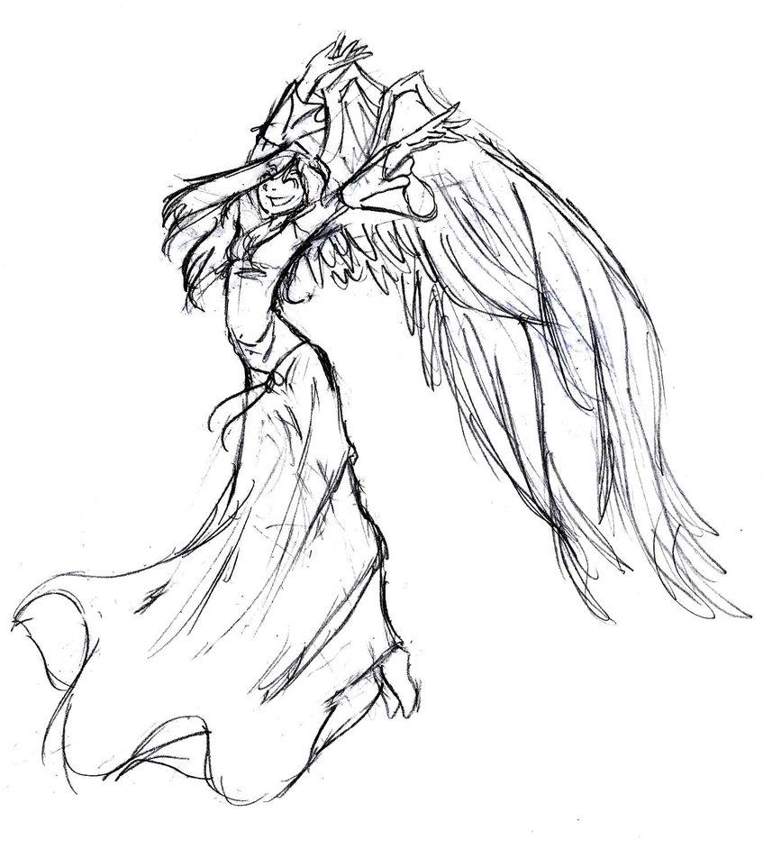 Drawn angel happy #2