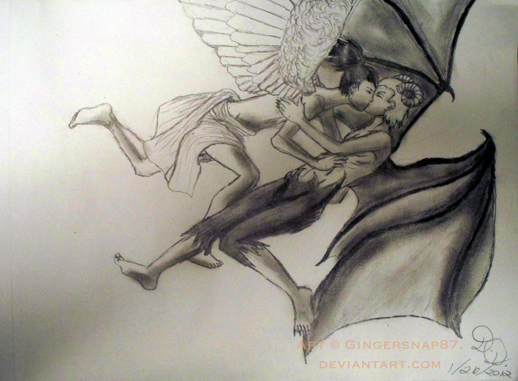 Drawn angel hugging demon By Gingersnap87 Angels and Gingersnap87