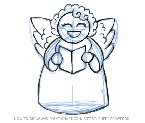 Drawn angel outline drawing You Angel erase work is