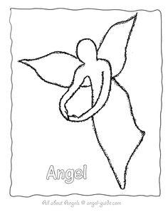 Drawn angel outline drawing Form A Print Black Angel