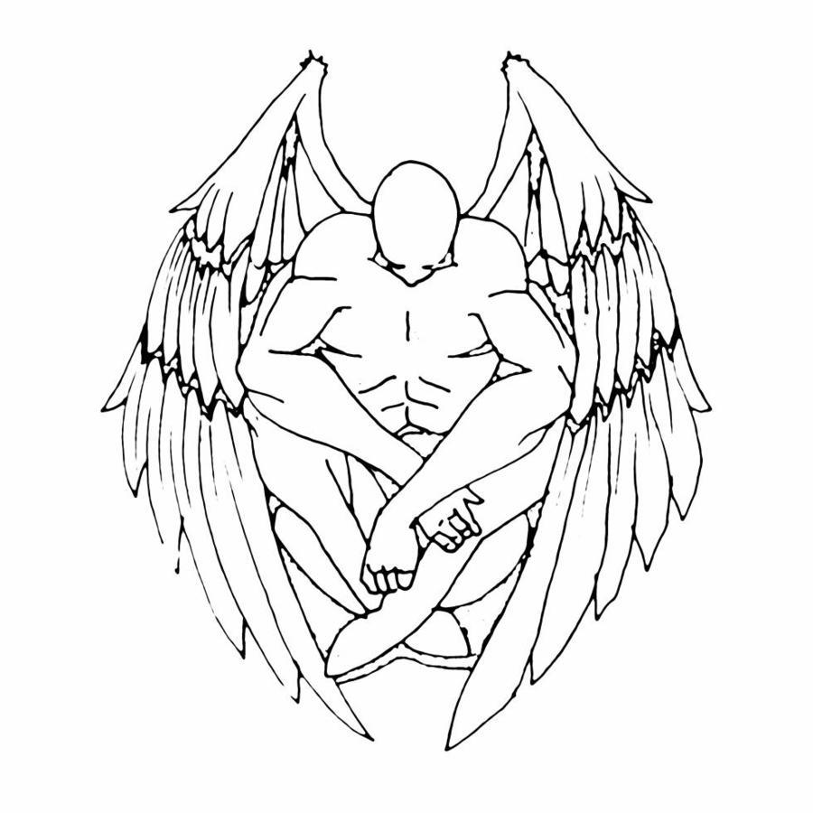 Drawn angel outline drawing Tattoo Impressive tattoo design Outline