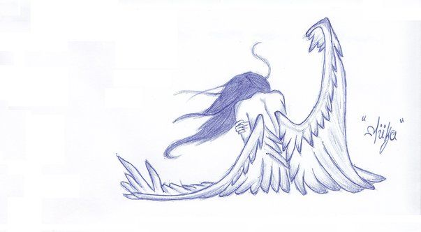 Drawn sad angel Girl sad angel Sad drawing