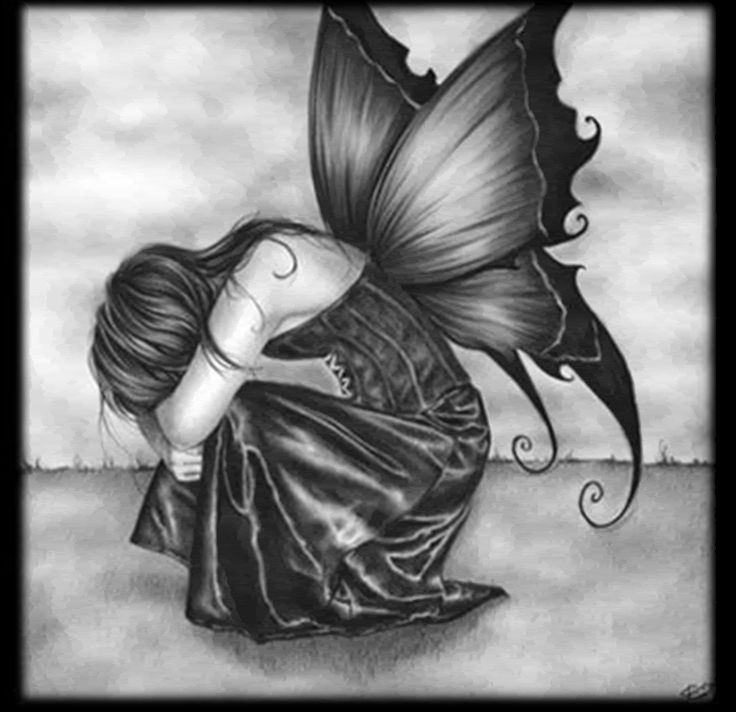 Drawn angel sadness Even angels best  Pinterest