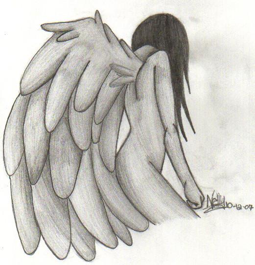 Drawn angel sadness JenJentastique Sad by Sad on