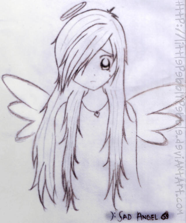 Drawn angel sadness Flower littlepebblypebble Sad by Sad