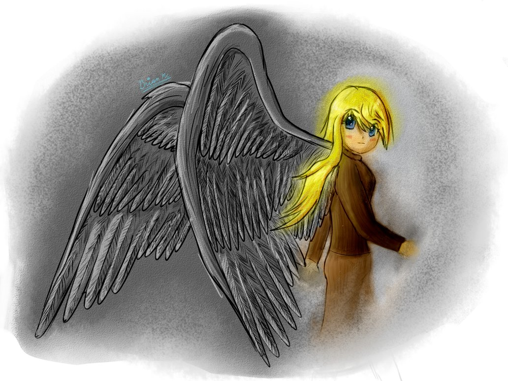 Drawn angel side view #15