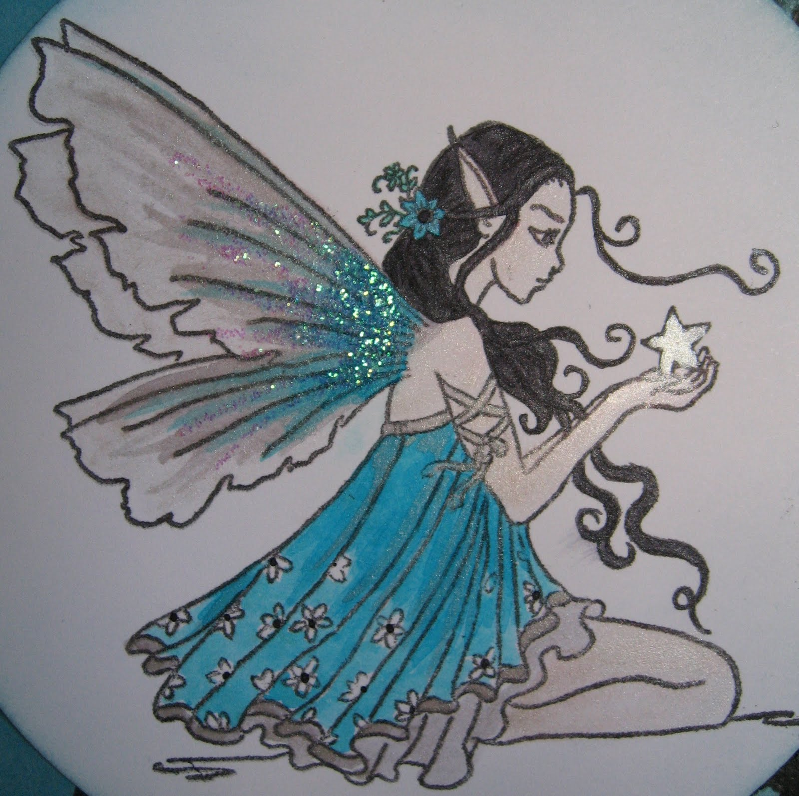 Drawn angel side view #14