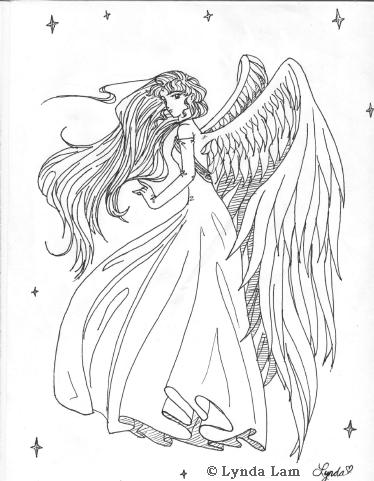 Drawn angel side view #9