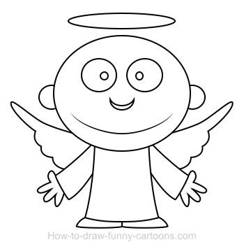 Drawn angel simple Angel cartoon Drawing cartoon angel