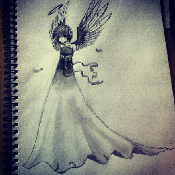 Drawn angel sketched Anime anime Angel In drawings