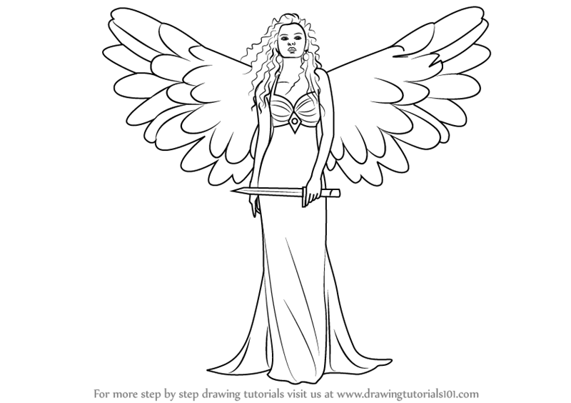 Drawn angel sword drawing #13