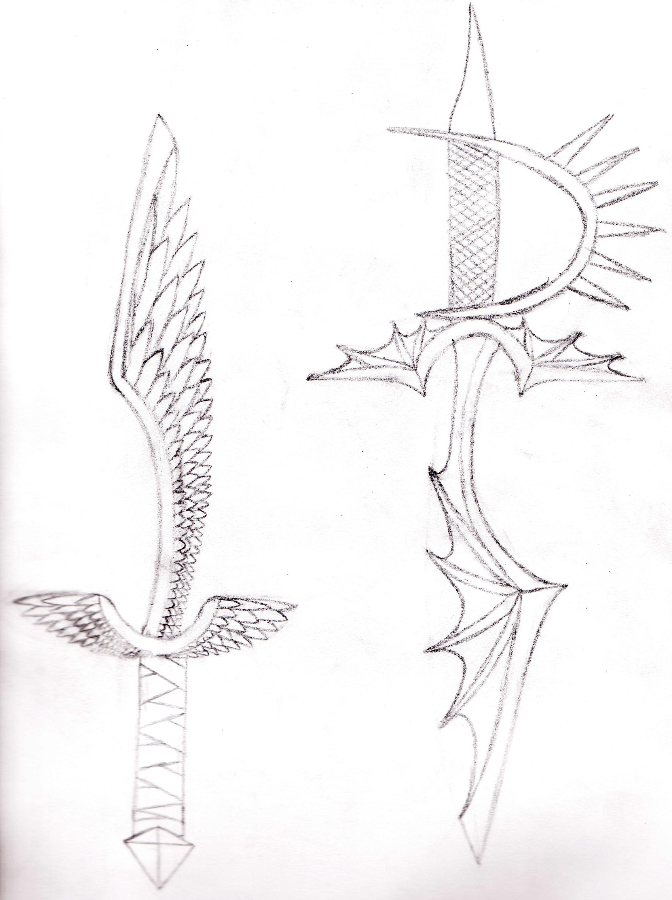Drawn angel sword drawing #8