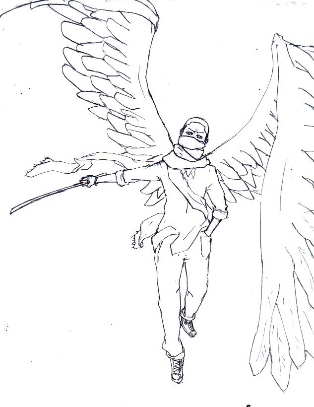 Drawn angel sword drawing #11