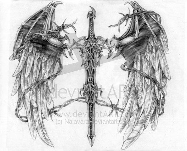 Drawn angel sword drawing #9