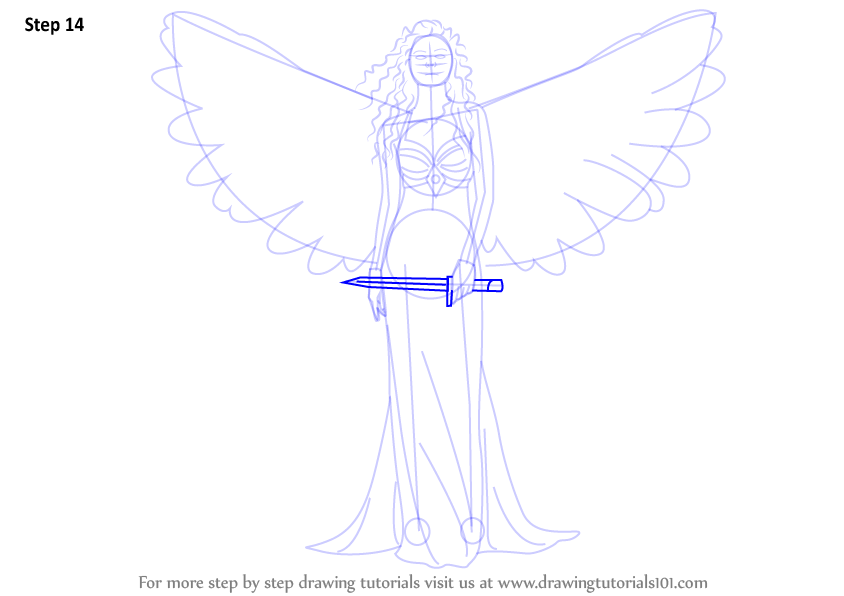 Drawn angel sword drawing #7