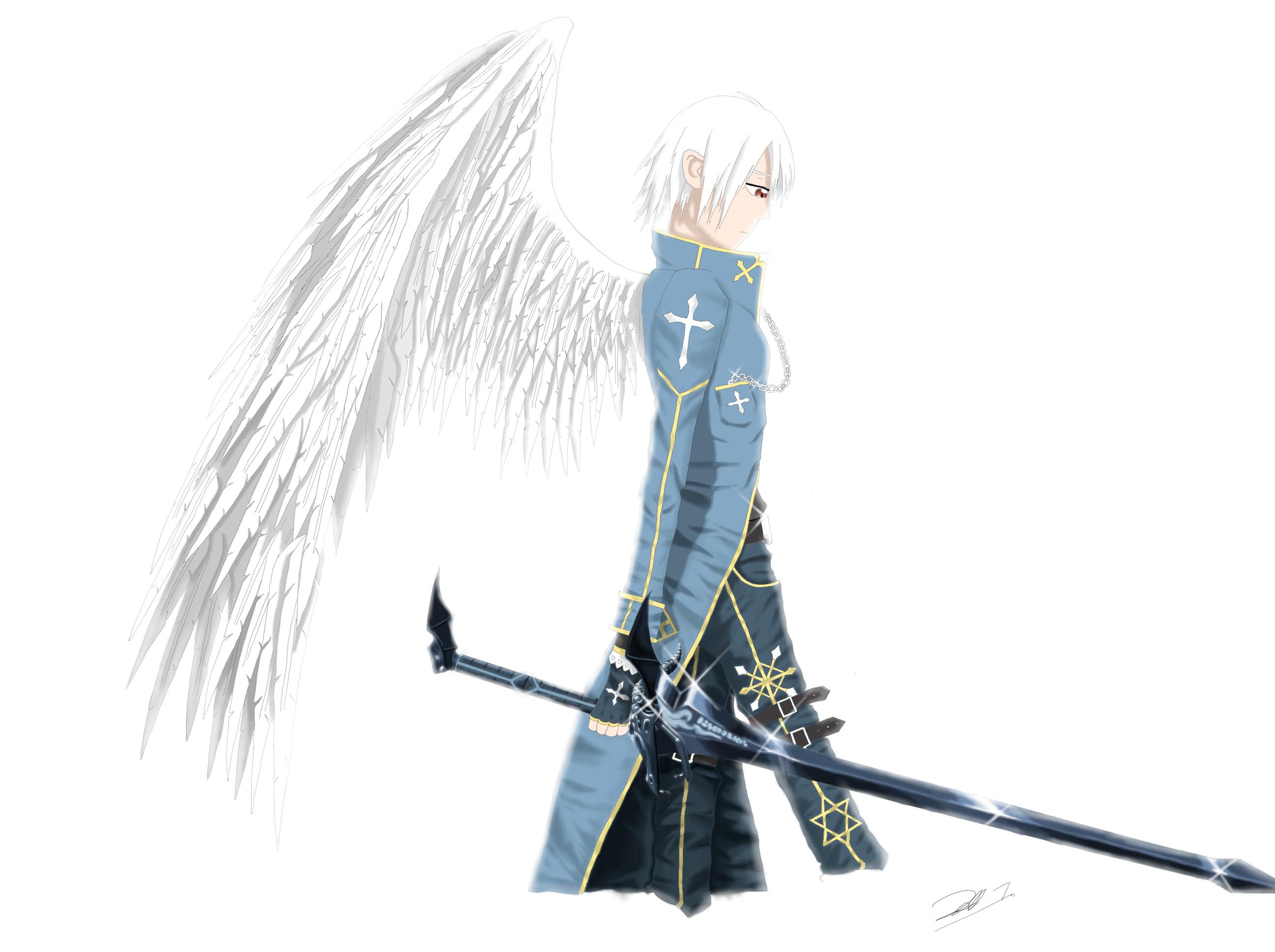Drawn angel sword drawing #3