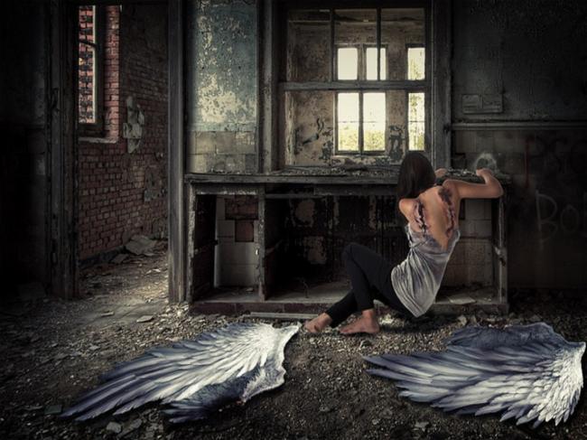 Drawn angel torn wing Angel damage Lover Broken Sad