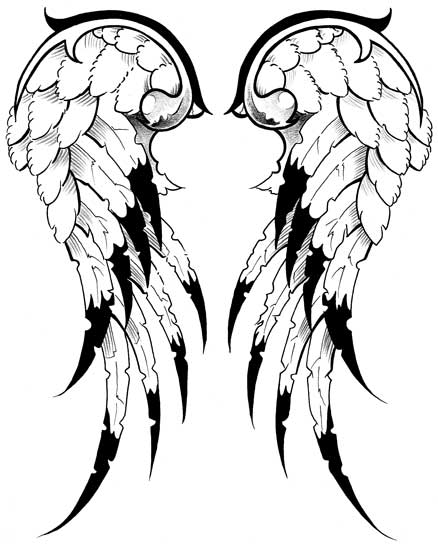 Drawn angel torn wing By Angel tattoo wings tattoo