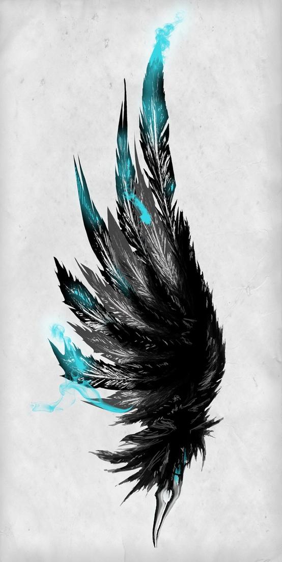 Drawn angel torn wing Es irgendwan Black dem Angle