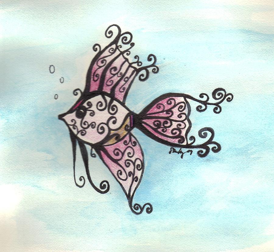 Drawn angelfish Fish by Keavy Shannon Shannon