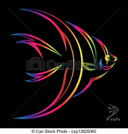 Angelfish clipart colorful fish Fish on black angel Vector