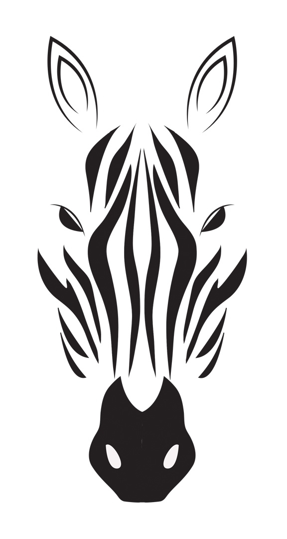 Zebra clipart shadow Drawing and black in on