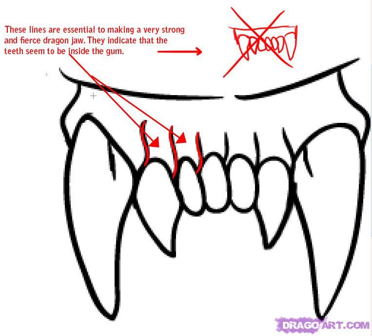Drawn teeth different Step 1 Step Draw Dragon