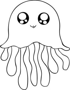 Drawn sea life easy Animals For By Jellyfish Coloring