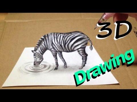 Drawn 3d art epic Drawing  Zebra 3D YouTube