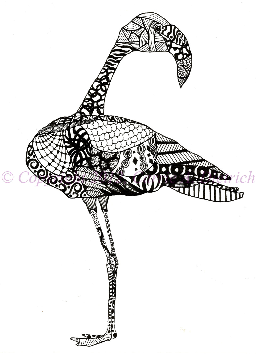 Drawn animal flamingo #14