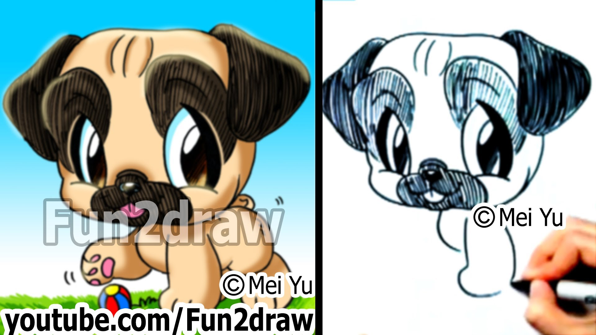 Drawn pug line drawing Fun2draw Dog to How Pug