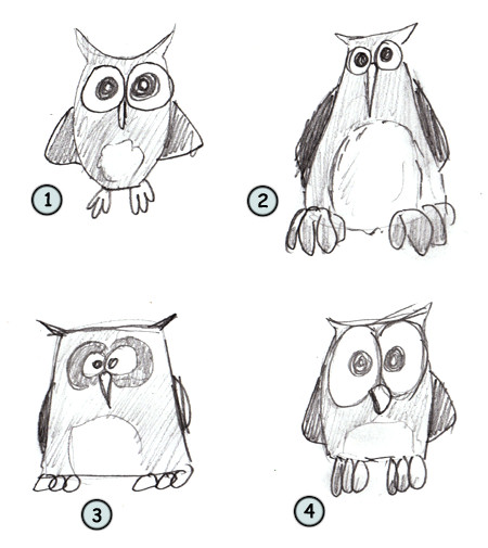 Drawn owl cartoon #1