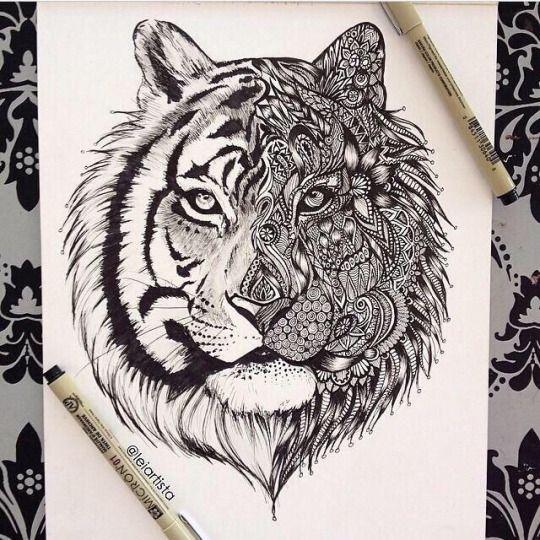 Drawn animal white tiger #8