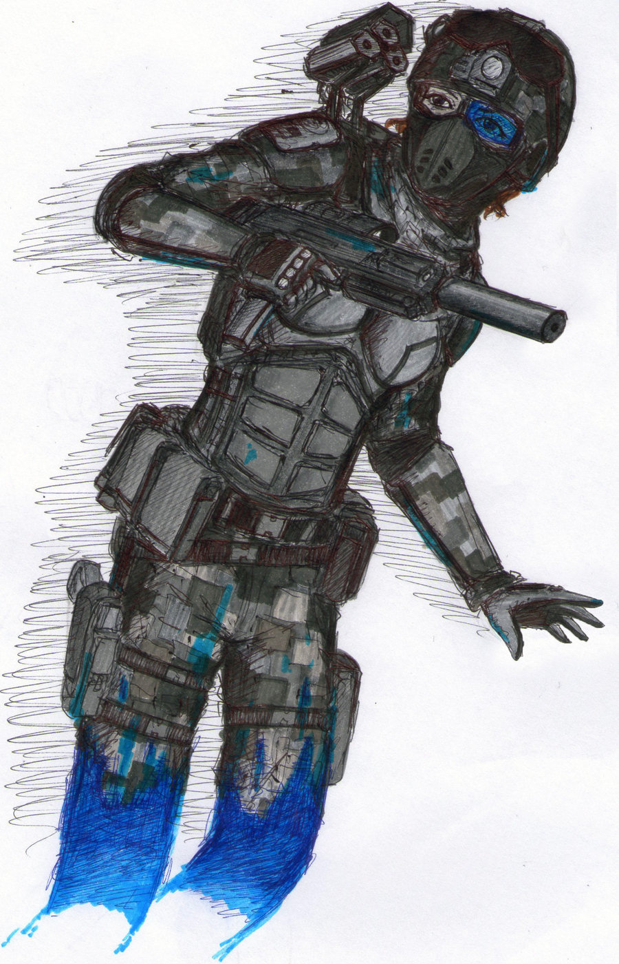 Drawn armor future anime Soldier Warrior Pinterest drawing soldier